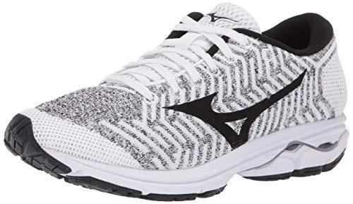 Mizuno Women's Wave Rider 22 Knit Running Shoe, white/black 12 B US