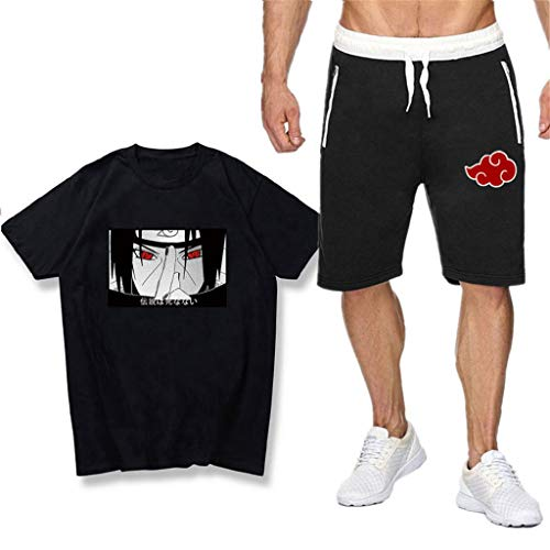 SAFTYBAY Naruto Uchiha Itachi Shirts and Shorts Sets for Mens Boys Naruto Anime Graphic Outfit Kids Summer Tshirt Tracksuit (2,XL)