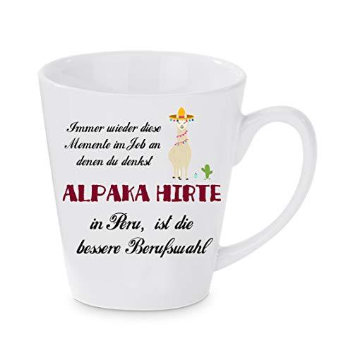 Crealuxe Konische Kaffeetasse Alpaka Hirte in Peru ist die bessere Berufswahl - Kaffeebecher, Becher mit Motiv, Bedruckte Latte oder Cappuccinotasse, auch indualisierbar.
