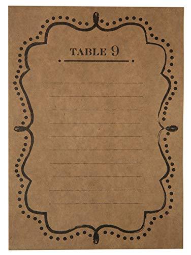 Blanco tafelnummers, plannen, menukaarten, 1-10, van karton in bruin & zwart vintage-stijl - tafeldecoratie, gedekte tafel, tafel, orde, bruiloftsdecoratie, verjaardagsfeest, plaatsorde