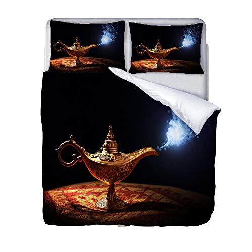 Funda Nórdica Juego de Ropa de Cama 3 Piezas 3D Fumando la lámpara mágica de Aladdin Microfibra Juego de Fundas de Edredón 2 Personas 220x240cm y 2 Funda de Almohada superfino Suave
