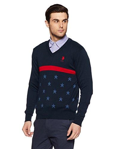 US Polo Assn. Men's Cotton Sweater (8907538639745_USSW0686_XL FS_Navy)