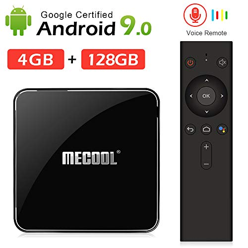 Andriod tv Box, Mecool KM3 Android 9.0 4K TV Box with Voice Remote.DDR4/4GB/128GB Google Certified Media Player Support 2.4G/5G WiFi and BT4.0 or Above