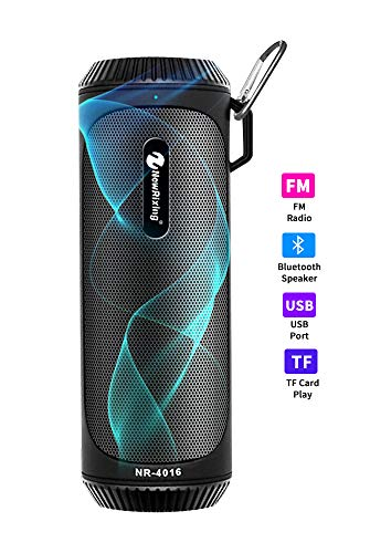 Portable Radio Boombox Blue Tooth Speaker with Flashlight and USB/TF/FM Radio,Wireless Stereo Pairing,Waterproof Rechargeable Durable Design Suitable for Home, Travel and Outdoors (Black)