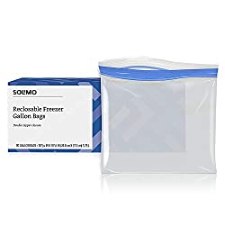 Amazon Brand - Solimo Freezer Gallon Bags, 90 Count