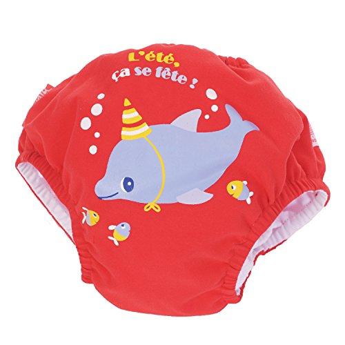 Piwapee - Costume Pannolino con sistema Anti Fuga Rosso Delfino 4-8 KG