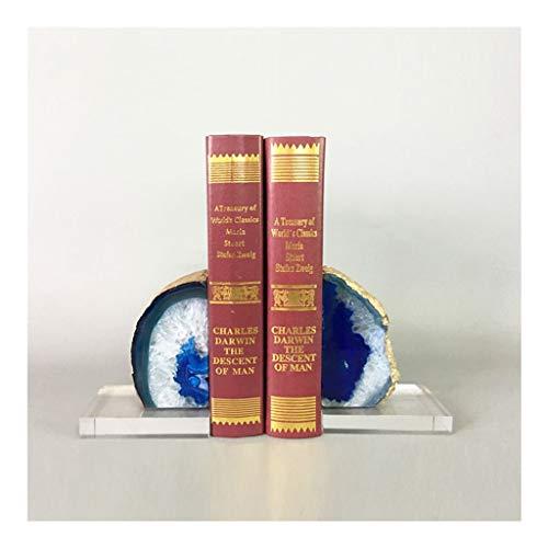 Jiande Ágata Natural sujetalibros 1 Par Gem Inicio Decorativos 11 Lbs Pulido Moderna Simple de ágata Natural de la Reserva Lean, Creativo sujetalibros Soporte de Libro Gema teñido (Color : Navy Blue)
