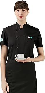 Senato Unisex Chef Coat, Short Sleeve, Chef Jacket, Stand-up Collar, White & Black Available, Sizes M to 4XL