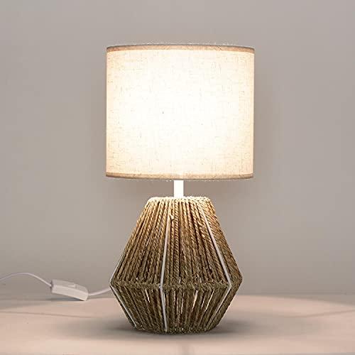 Riffolk - Lámpara para mesita de noche, diseño bohemio, tejido de mimbre, E14, 38 cm