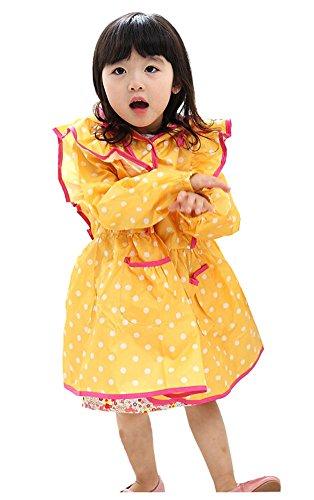 coréen Baby-girls Robe de princesse pluie Mode enfants pluie Jaune Dot S