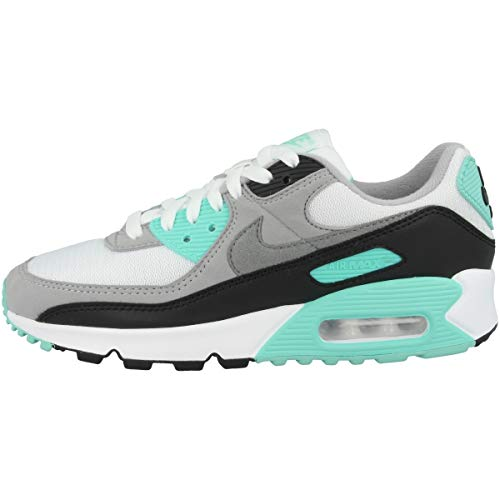 Nike Damen W Air Max 90 Laufschuh, White/Particle Grey-Hyper Turq-Black, 38 EU