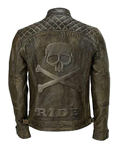 Feather Skin Männer Kleidung Skull Embossed Classic Diamond Biker Khaki Echte Lederjacke- XXS