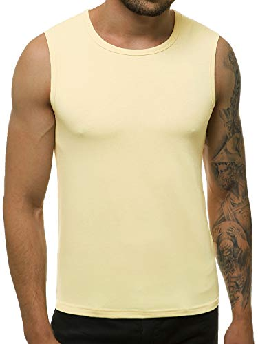 OZONEE Herren Tank Top Tanktop Tankshirt Ärmellos Bodybuilding Shirt Unterhemd T-Shirt Muskelshirt Achselshirt Ärmellose Training Gym Sport Fitness Freizeit Rundhals 777/7835BO/67 BEIGE XL