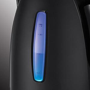 Russell Hobbs Wasserkocher Textures+, 1,7l, 2400W, LED Beleuchtung, Schnellkochfunktion, optimierte Ausgusstülle, herausnehmbarer Kalkfilter, Teekocher schwarz 22591-70 [Energieklasse A+++]