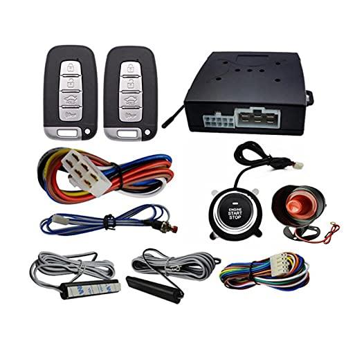 TAHMM 12V PKE Alarma de automóvil Control Remoto Control Remoto Sin Llave Enginera Inicio Servicio Sistema DE Alarma Sistema Pulsar Push Botón Terreno Remoto Parada Accesorios Auto (Color : Black)