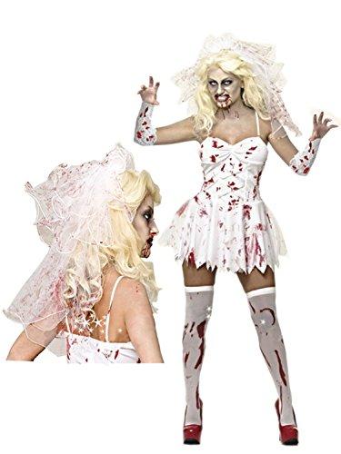Impressions - Costume da sposa zombie, da donna, completo di velo insanguinato, perfetto da indossare per Halloween