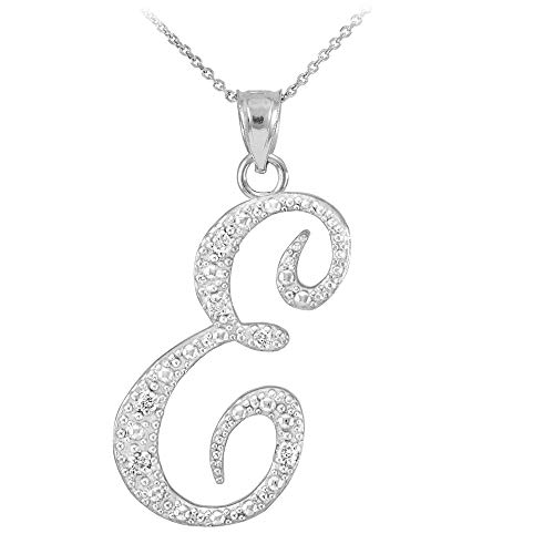 14K White Gold Diamond Accented Dangling Cursive Initial A-Z Charm 4/5' Pendant Necklace - Letter E with 18' Chain