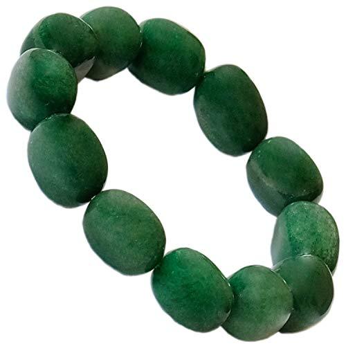 Kaltner Präsente - Braccialetto a forma di zampa con pietre preziose, con fascia elasticizzata, colore: Verde avventurina