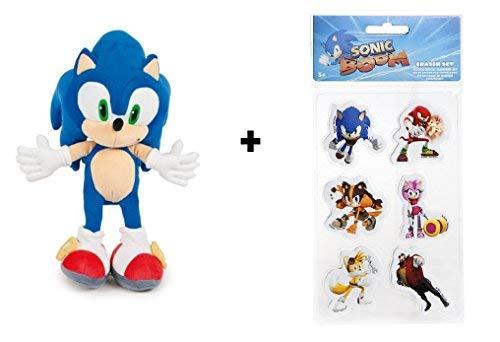 Sonic: Peluche Sonic 34 cm + Kit Gomas de borrar Sonic...