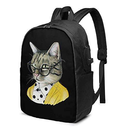 Reise-Laptop-Rucksack, Etsy-Katze mit Brille Reise-Laptop-Rucksack College-Schultasche Lässiger Tagesrucksack mit USB-Ladeanschluss