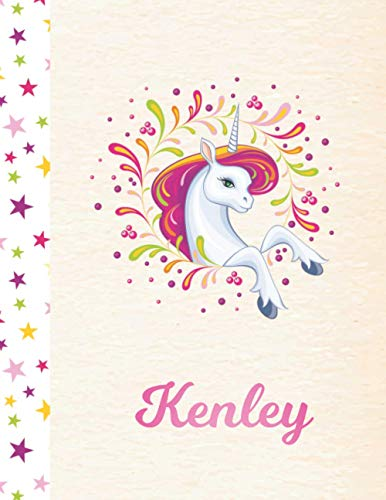 Kenley: Personalized Unicorn Sketchbook Drawing Paper for Girls - Pink First Name - 8.5 x 11 - 100 Pages - Sketch, Learn, Doodle & Create Art!