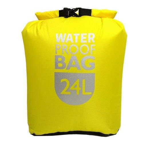 Bolsa Seca Impermeable al Aire libre-6L / 12L / 24L Saco Rafting Natación Canotaje Vela Kayak Canotaje Rastreo Río Trekking Flotante (Color : Yellow 24L, Size : Free)