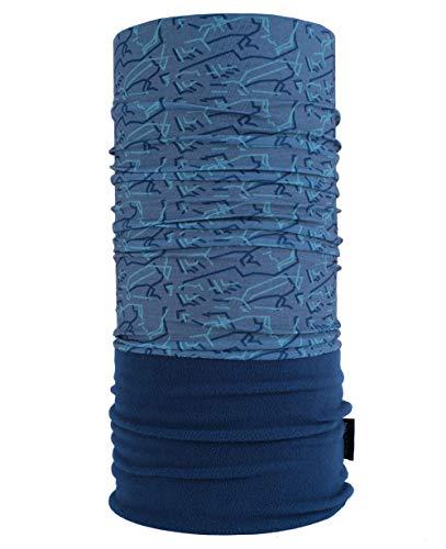 Wärmendes Multifunktionstuch mit Fleece/Polar Schlauchtuch/perfektes Halstuch für kalte Herbst und Wintertage - Farbe Polar Tuch:9 Blau