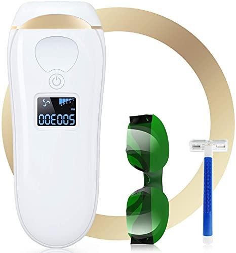 Depiladora láser con luz pulsada IPL con 5 niveles de energía, 2 modos y 500.000 flashes para una depilación permanente sin dolor, adecuada para mujeres y hombres