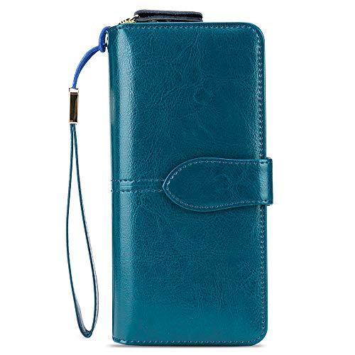 Holybird - Cartera de Piel con Bloqueo RFID para Mujer, Gran Capacidad, Cartera para teléfono móvil, Cartera de Mano, Tarjetero Largo con Cierre