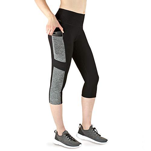 VS Leggings 3/4 Damen mit Handytasche Capri Sport-Leggings - 3 Seitentaschen 3/4 Leggins für Handy, Schlüssel, Kreditkarte und Co. Fitness Sport Tights Schwarz Muster Yoga Hose High Waist. Grey-M