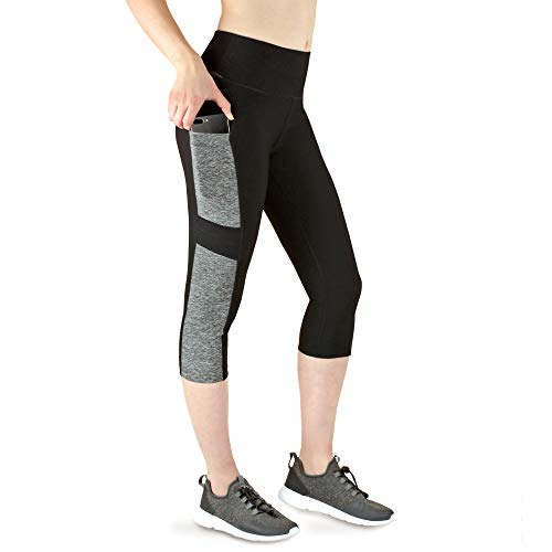 VS Capri Sport Leggings mit Handytasche - 3 Seitentaschen 3/4 Leggins für Handy, Schlüssel, Kreditkarte und Co. Fitness Sport Tights Schwarz Muster Yoga Hose Sporthose Jogging High Waist. Grey-L