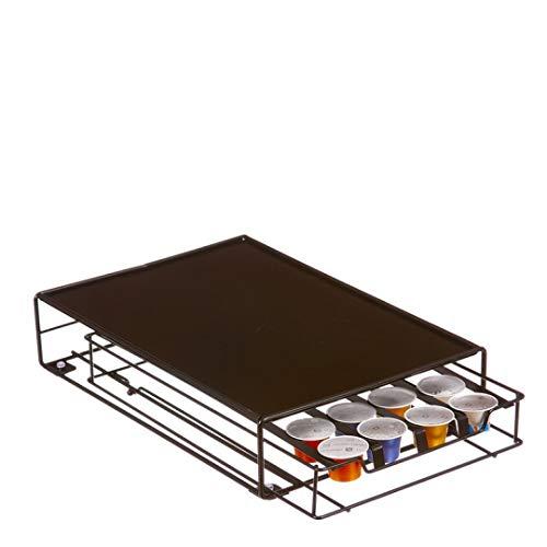 TIENDA EURASIA® Soporte para Cápsulas de Café Nespresso - Cajón Dispensador de Cápsulas con Bandeja para Cafetera (32 Cápsulas) 18,50 x 32 x 7 cm