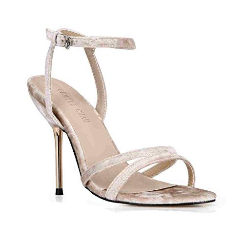CHMILE CHAU-Zapatos para Mujer-Sandalias de Tacon Alto de Aguja-Talón Metálico-Talón Delgado-Sexy-Moda-Novia o...