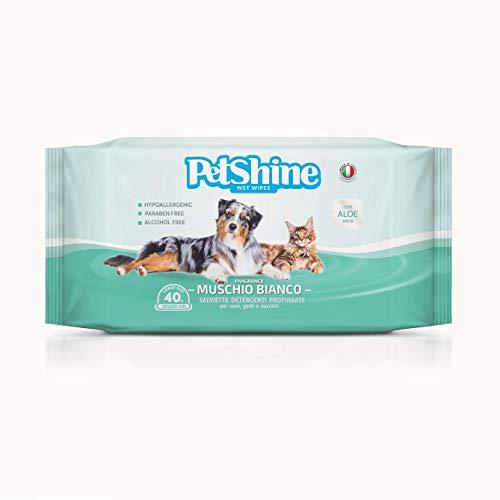 Porrini 11-04225 Toallitas Higiene Perro y Gato, Musgo Blanco y Aloe - 40...