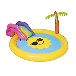 GREAT SUMMER FUN: with the Sunnyland paddling pool centre; designed water capacity 225L REMOVABLE SLIDE: with tie ropes and built in grommets, as well as centre fountain sprayer for splashing fun EASY TO USE: simple inflate and easily attach to garde...
