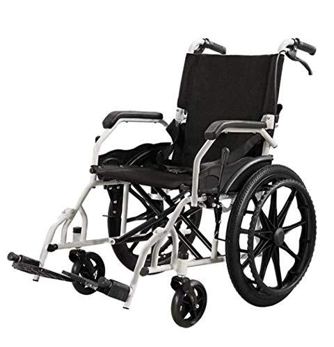 ZHJQTIE Leichtes Aluminium Zusammenklappbarer Rollstuhl Selbstfahr Rollstühle for Ältere Menschen Und Behinderte, Standhalten Kann 220lbs