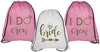 Bride and Bride Tribe Drawstring Bags - Set of Black/White and Glittery Metallic Gold Drawstring Bachelorette Party Backpacks, Perfect for Hangover Kit for Bride and Bridesmaids (I Do Crew 7)
