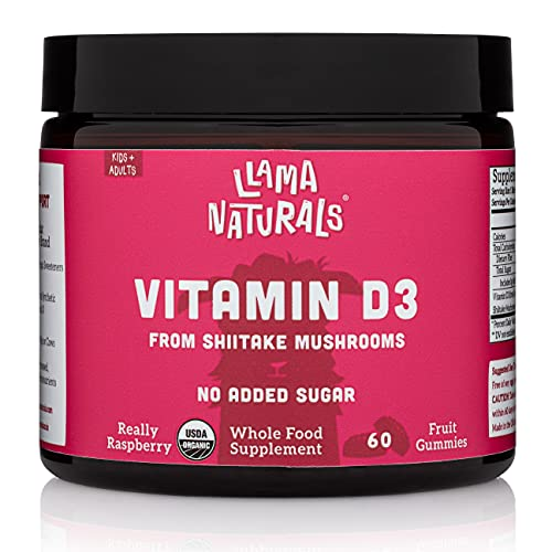 Llama Naturals Organic Vitamin D3 Gummies (Adults + Kids); Real Fruit, No Added Sugar or Sweeteners; Healthy Bones, Immunity, and Mood; 1,600 IU per bite; 60 Vegan Bites (30-60 Days) (Raspberry)