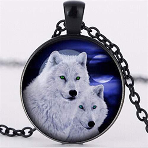 Collar con colgante de lobo y tótem para hombre, diseño de cristal, 3 colores