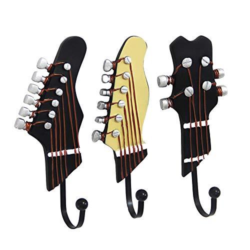 Unicoco resina chitarra da parete gancio appendiabiti da parete 3pcs novità Key Holder Home...