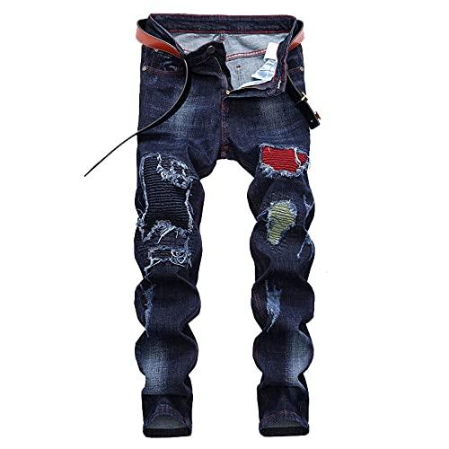 Eauptffy Herren Skinny Jeans Männer Jeanshose Destroyed Ripped Regular Slim Fit Zerrissene Distressed Stretch Modell Denim Klassisch Vintage Stylisch Jeans Hose Destroyed Ausgefranste Denim Hose