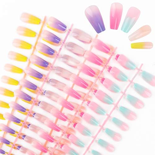 FLOFIA 120pz Unghie Finte Colorate per Ragazze Donne Adesive in Espostiore Display Unghie Artificiali Ovali Adesive Copertura Completa Biadesivo per Manicure Decorazione Nail Art Fai da Te (5 Set)