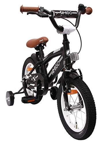 BMX Fun - Kinderfahrrad - 14 zoll - Jungen - mit Rücktritt und Stützräder - ab 3 Jahre - Schwarz