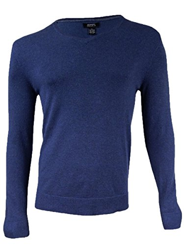 Alfani Men's Knit V-Neck Pullover Sweater Indigo Heather Large