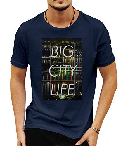 Wild Soul Tees - Camiseta de Manga Corta para Hombre, diseño con Texto en inglés Love Vienna Capital of Austria Azul Azul XL