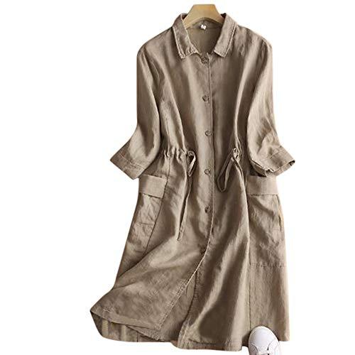 YUMUYMEY Mittellanger Damen-Cardigan aus Baumwolle und Leinen mit großen Ärmeln und Leinenmantel (Farbe : Khaki, Size : L)