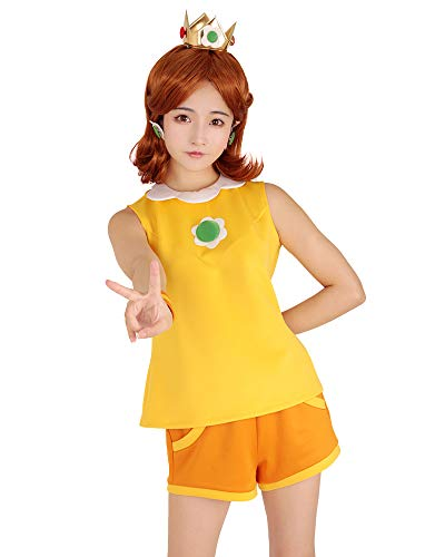 miccostumes Women's Princess Daisy Tennis Outfit Cosplay Costume with Crown (S) Yellow