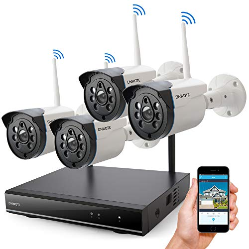 ONWOTE Wireless Security Camera System Outdoor, 1080P HD NVR 4 960P HD 1.3MP Night Vision IP...