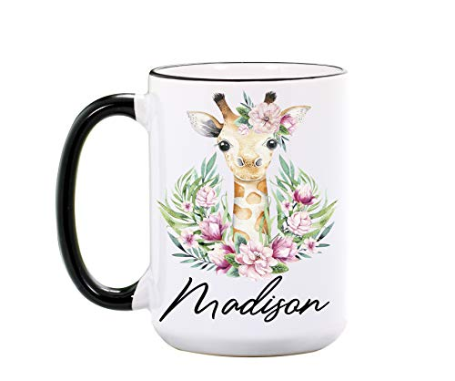 Giraffe Mug By Wimly – Personalized 15 oz or 11 oz Large Ceramic Mug – Cool Mugs – Cute Coffee Cups – Animal Mugs – Giraffe Gifts for Women – Dishwasher & Microwave Safe - Made In USA
