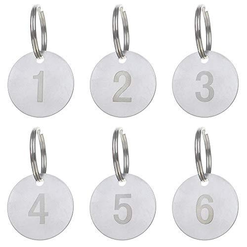 Aspire 25 Llaveros Numerados de Acero Inoxidable, Etiquetas Numeradas con Llaveros, Etiqueta con Anilla de Metal, Etiqueta de Acero Inoxidable con Números Blancos, 1-25